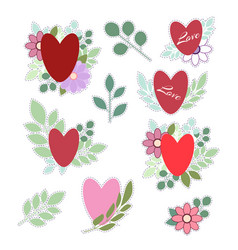 set of stickers for valentines day isolated on vector image