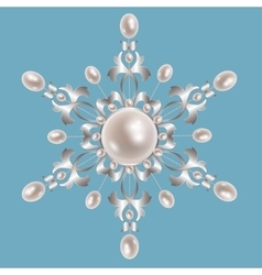Silver brooch with pearls vector