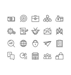 simple set of business thin line icons editable vector image
