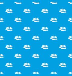 skull of dinosaur pattern seamless blue vector image