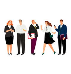 smiling office people happy business characters vector image