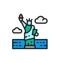 statue liberty usa landmark flat color vector image