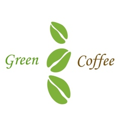 Three green coffee beans on white vector image