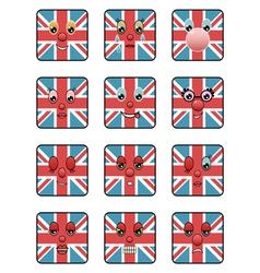 Union jack emoticons vector