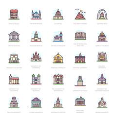 University buildings flat icons vector