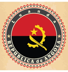 Vintage label cards of Angola flag vector