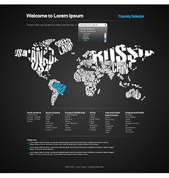 Website Design Template with World Map vector