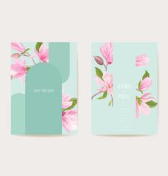 wedding invitation boho magnolia flowers card vector image