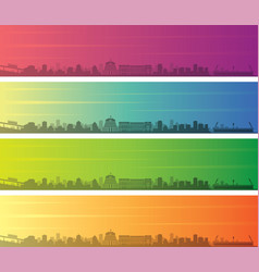 wellington multiple color gradient skyline banner vector image
