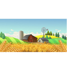 Wheat field Farm landscape background vector