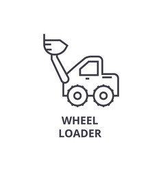 Wheel loader line icon sign vector