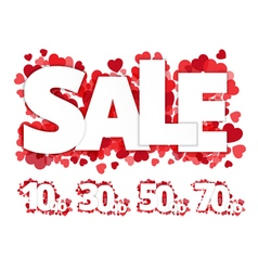 White sale sign over red hearts vector image