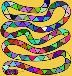 Yellow background and colored snake vector
