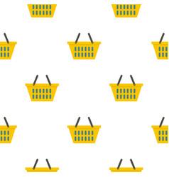 Yellow plastic shopping basket pattern flat vector