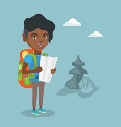 Young african-american traveler looking at map vector