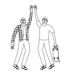 young male friends black and white black and white vector image