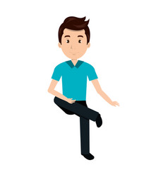 young man avatar sitting character vector image