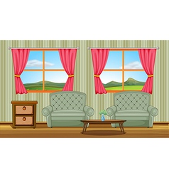 A cushion chairs and side table vector image vector image