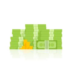 Big pile of money heap of cash flat cartoon style vector