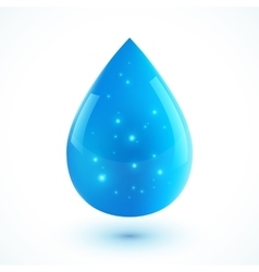 Blue realistic ion water drop isolated on vector image