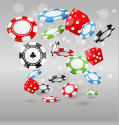 Gambling and casino symbols - flying poker chips vector image vector image