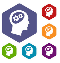 gear in head icons set vector image
