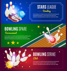 isometric colorful bowling horizontal banners vector image