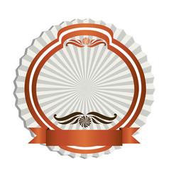 orange emblem with ribbon decoration icon vector image