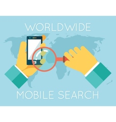 Worldwide Mobile Search Hands Phone Magnifying vector image