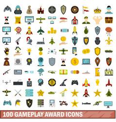 100 gameplay award icons set flat style vector image vector image