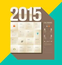 Calendar 2015 origami paper square design vector image vector image