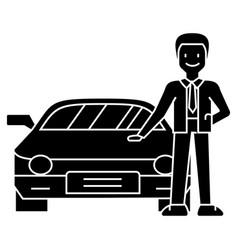 Man with new car - car dealer - auto dealership - vector