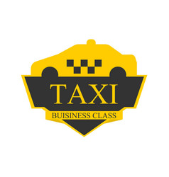 business class taxi logotype with car on top label vector image vector image