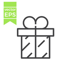 gift box with ribbon line icon outline vector image