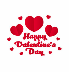 happy valentines day red hearts with lettering on vector image vector image