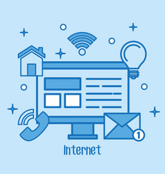 internet concept computer screen media network vector image