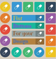 pill icon sign Set of twenty colored flat round vector image vector image