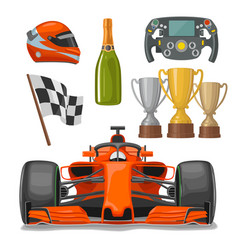 set race flat icons helmet champagne cup flag vector image vector image