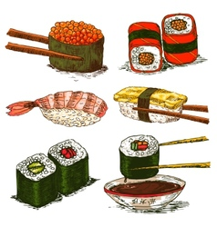 tasty rolls and sushi set vector image
