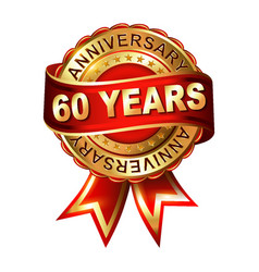 60 years anniversary golden label with ribbon vector image