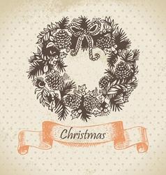 Christmas wreath hand drawn vector