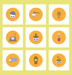 Collection of icons in flat style halloween vector
