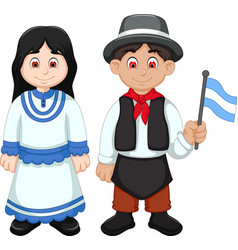 cute couple argentina cartoon with national clothe vector image