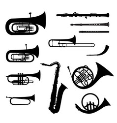 music instruments set brass musical instrument vector image