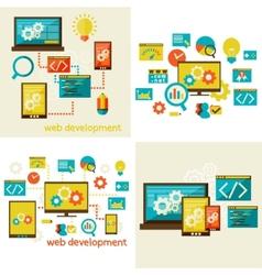 set of flat design concept for web vector image