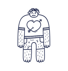 a nice character guy with heart on t-shirt vector image