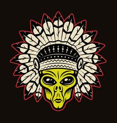 Alien head in indian headdress vector
