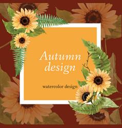 Autumn-themed border frame sunflower square text vector