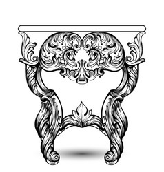 Baroque console table with luxurious ornaments vector