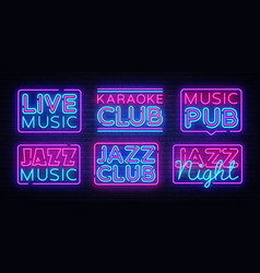 Big collection live music neon signs jazz vector